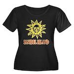 Sanibel Sol - Women's Plus Size Scoop Neck Dark T-