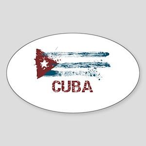 Cuba Grunge Flag Oval Sticker