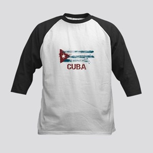 Cuba Grunge Flag Kids Baseball Jersey