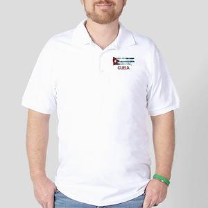 Cuba Grunge Flag Golf Shirt