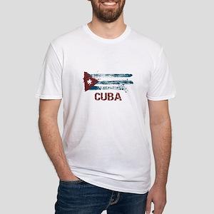 Cuba Grunge Flag Fitted T-Shirt