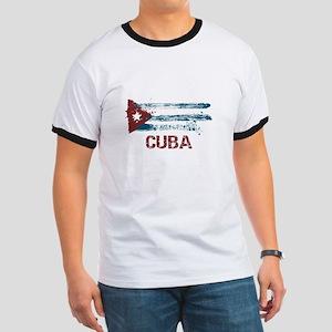 Cuba Grunge Flag Ringer T