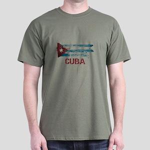 Cuba Grunge Flag Dark T-Shirt