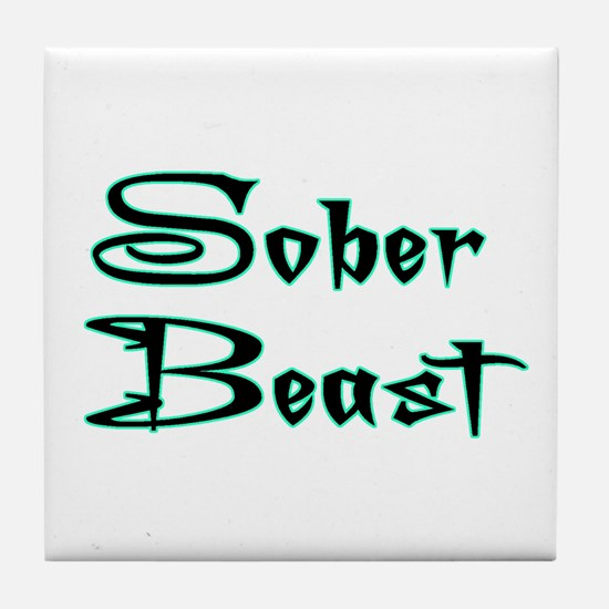 Sober Beast Blue Tile Coaster