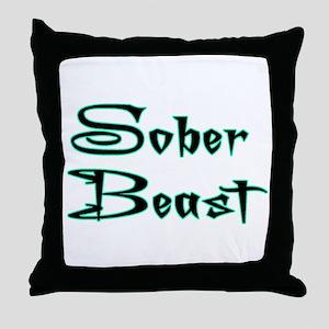 Sober Beast Blue Throw Pillow