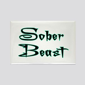 Sober Beast Blue Rectangle Magnet