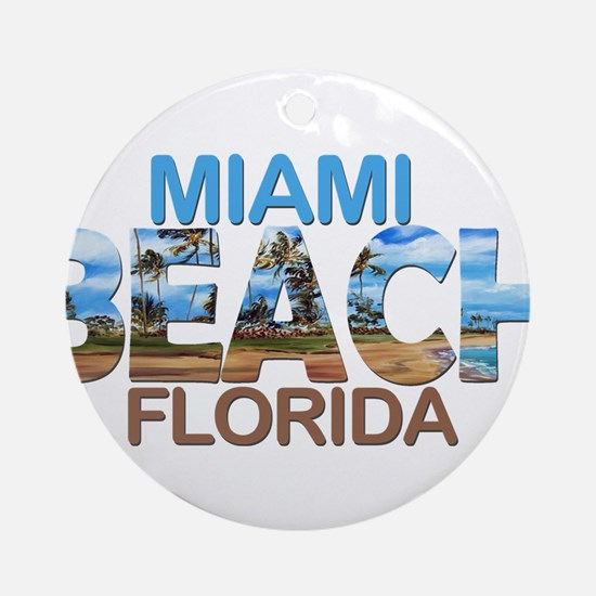 Summer miami beach- florida Round Ornament