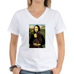 Mona & her Chocolate Lab Women's V-Neck T-Shirt