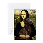Mona & her Chocolate Lab Greeting Cards (Pk of 20)