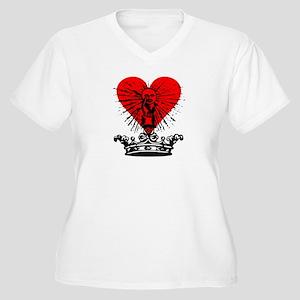 Medieval Crown & Heart Women's Plus Size V-Neck T-