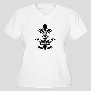 Fleur Crown hearts Women's Plus Size V-Neck T-Shir