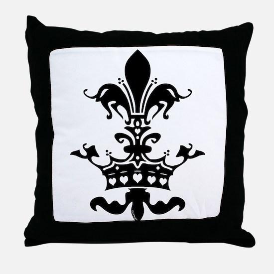 Fleur Crown hearts Throw Pillow