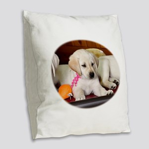 Perked Up Lab Burlap Throw Pillow