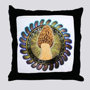 Psychedelic morel mushroom art Throw Pillow