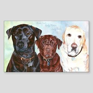 Three Labrador Retrievers Rectangle Sticker