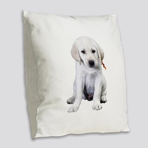Sit Me Down Lab Burlap Throw Pillow