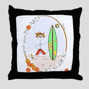 Surfer Betty! Throw Pillow