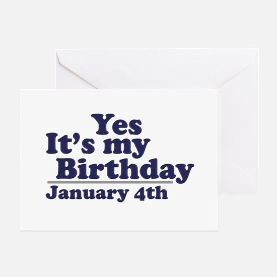 January 4th Birthday Greeting Card