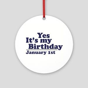 January 1st Birthday Ornament (Round)