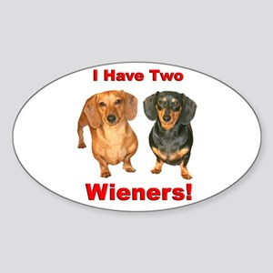 Two Wieners Oval Sticker