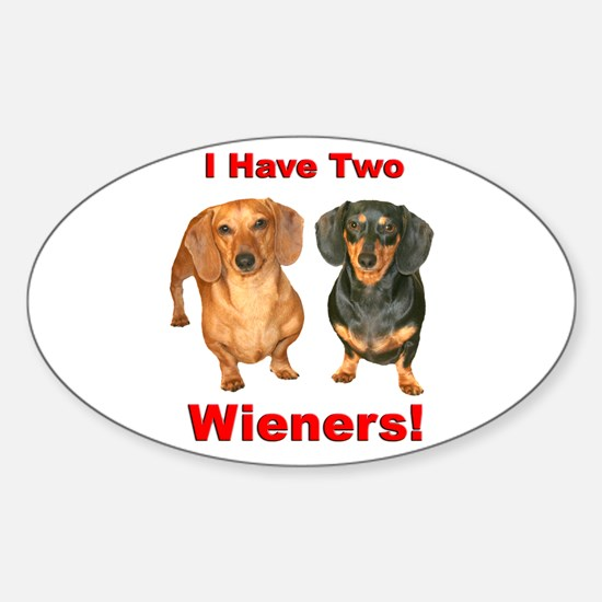 Two Wieners Oval Decal