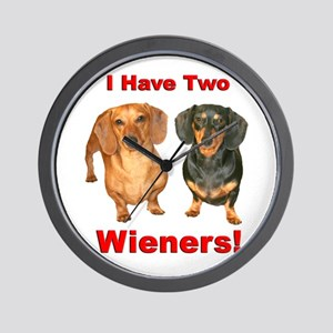 Two Wieners Wall Clock