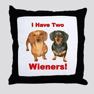 Two Wieners Throw Pillow