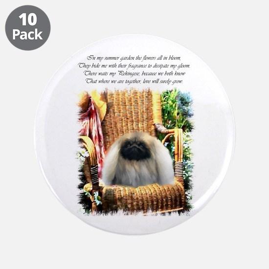 "Pekingese Art 3.5"" Button (10 pack)"