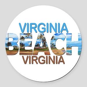 Summer virginia beach- virginia Round Car Magnet
