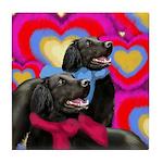 FLAT COATED RETRIEVER DOGS VALENTINE Tile Coaster