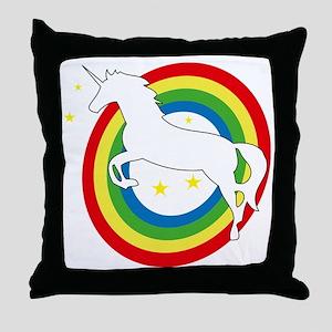unicorn on a rainbow Throw Pillow