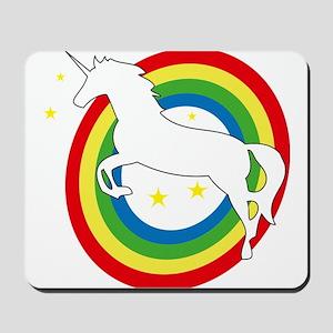 unicorn on a rainbow Mousepad
