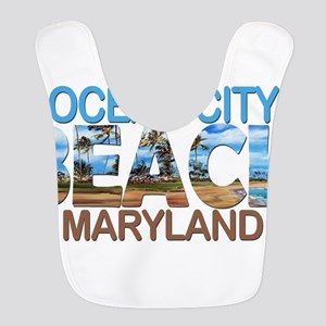 Summer ocean city- maryland Polyester Baby Bib