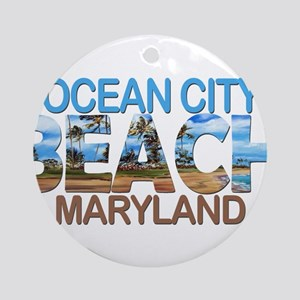 Summer ocean city- maryland Round Ornament