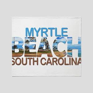 Summer myrtle beach- south carolina Throw Blanket