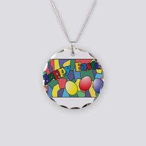 Easter Stained Glass Window Necklace Circle Charm