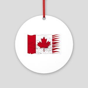 Wavy Canadian Flag Grunged Round Ornament