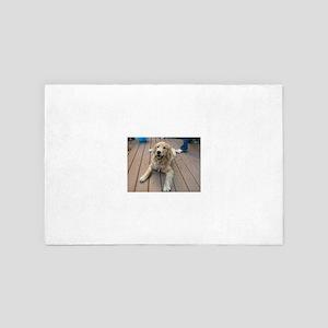 golden retriever puppy Nala on deck 4' x 6' Rug