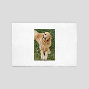 golden retriever on grass reclining Na 4' x 6' Rug