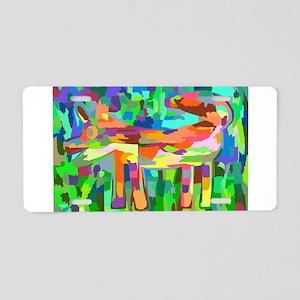 Watercolor Rainbow Fox Aluminum License Plate