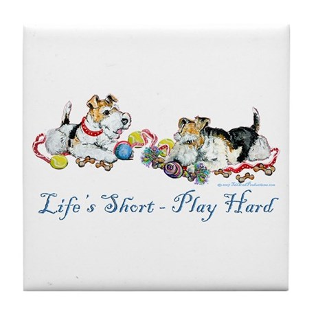 Fox Terriers Dog Play Tile Coaster