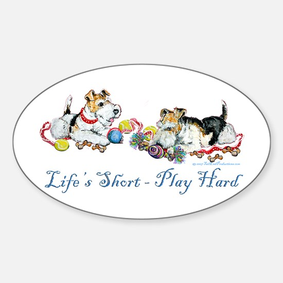 Fox Terriers Dog Play Oval Decal