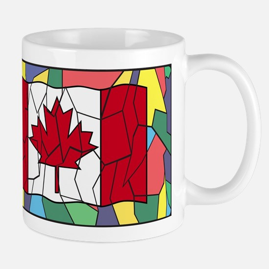 Canadian Flag On Stained Glass Window Mugs