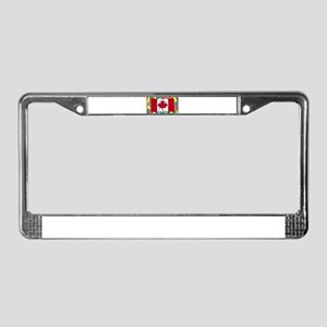 Canadian Flag On Stained Glass License Plate Frame