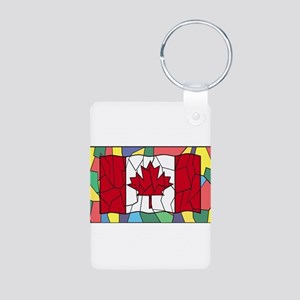 Canadian Flag On Stained Glass Window Keychains