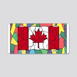 Canadian Flag On Stained Gl Aluminum License Plate