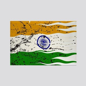 Wavy India Flag Grunged Magnets
