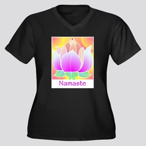 Bejeweled Lotus Flower Women's Plus Size V-Neck Da