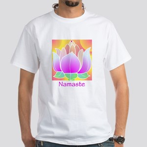 Bejeweled Lotus Flower White T-Shirt
