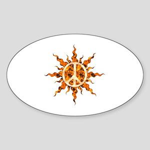 Flaming Peace Sun Sticker